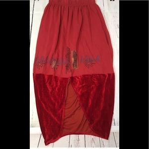 NEW Blue Fish Red Lagenlook Skirt Size 1